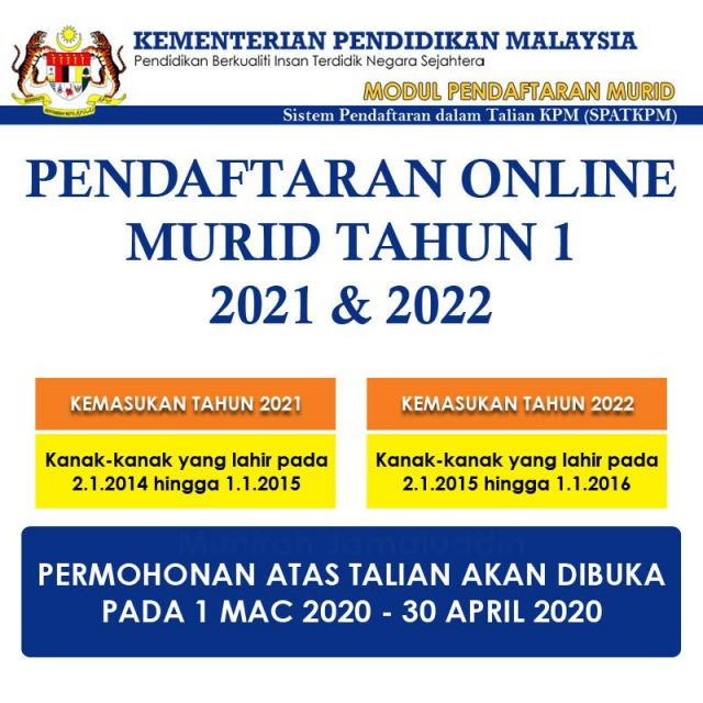 Pendaftaran Kemasukan Tahun 1 Prasekolah Sesi 2021 2022 Pusat Internet